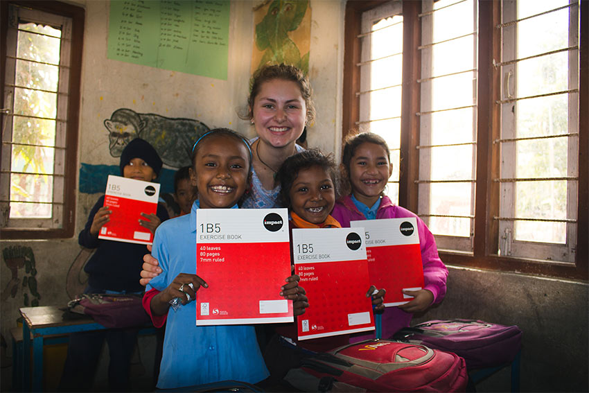 Photo of Alannah Wesche and the kids she teaches
