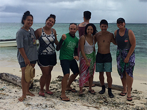 Students group photo while on Ecology course in the Pacific