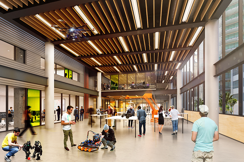 The new Engineering, Design and Technology building includes sustainability features like low-energy light fittings.