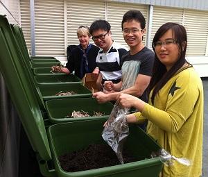 students sorting rubbish
