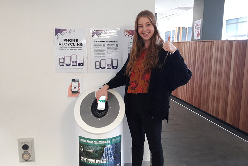 Mobile phone recycling stations across AUT