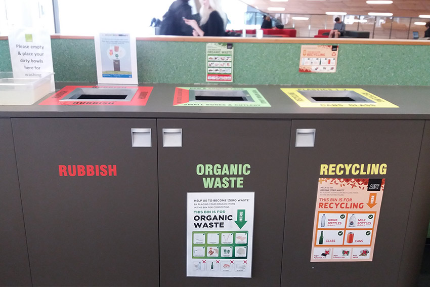 recycling stations at AUT's cafe