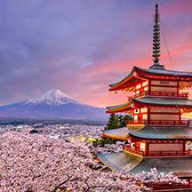 Japan landscape with Mount Fuji in background