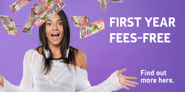 Student celebrating first year fees-free