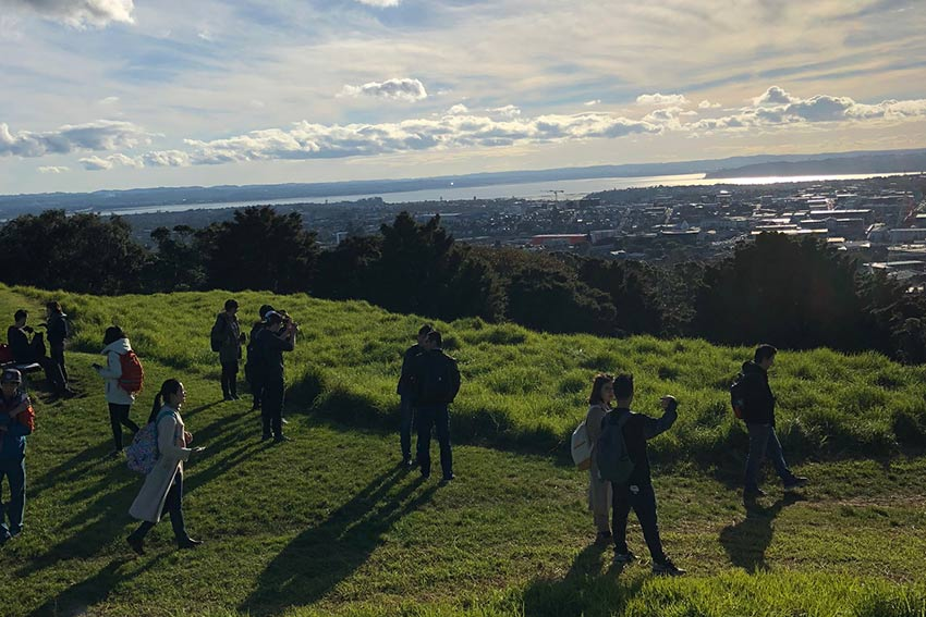 Enjoying the views of Auckland City from Mt Eden