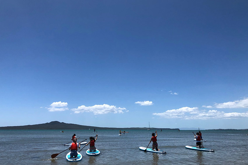 Students paddle boarding in Auckland with Rangitoto Island in the background