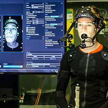 Student at motion capture lab