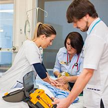 Nurses practicing resucitation