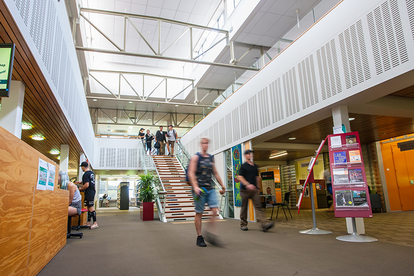 Our North Campus has great facilities including a library, a gym, cafes and health clinics