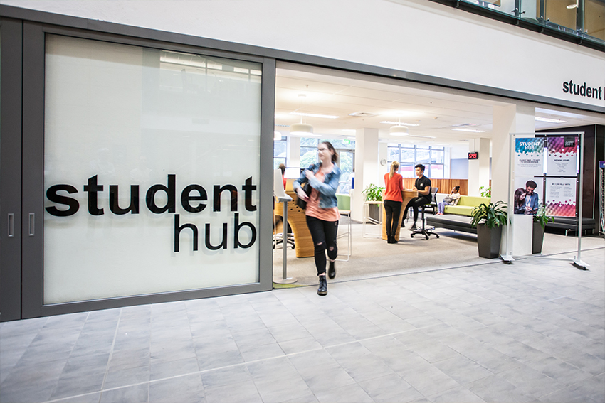 AUT Student Hub is located on each campus and gives you access to a range of services and support to help you succeed