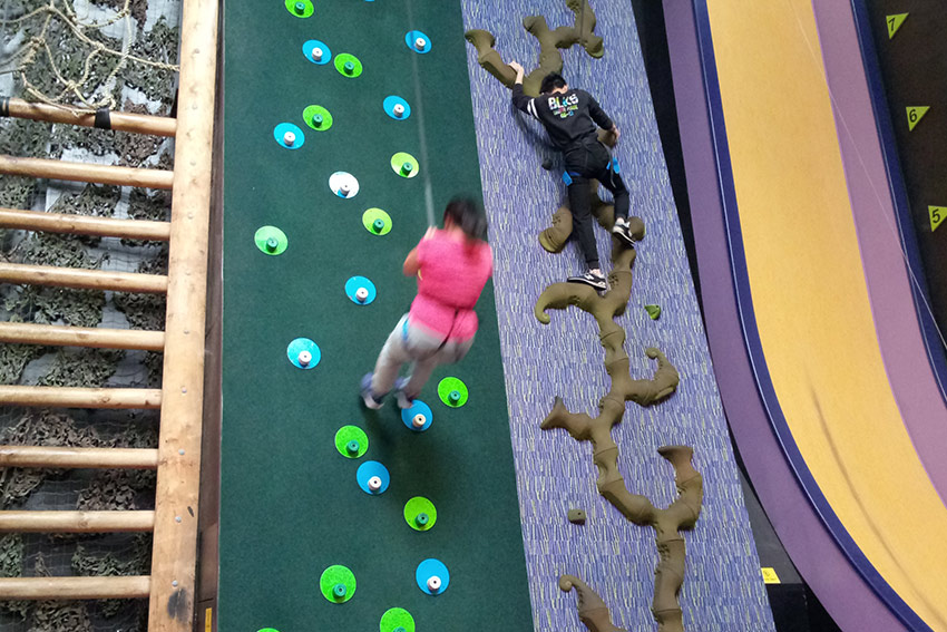 Indoor rock climbing is a popular activity with our students