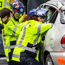 Emergency workers at car wreak