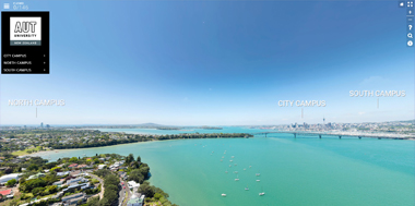 Auckland aerial photography showing campuses