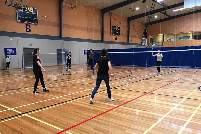 Our programme includes sports activities, like badminton in AUT's gym