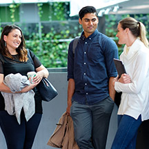 Postgraduate students having a conversation